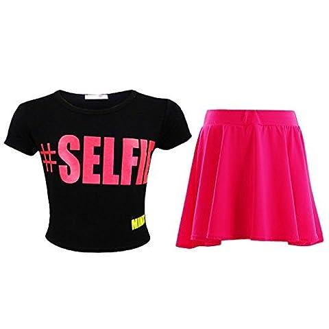 Kids Girls Comic Graffiti Scribble Leopard #SELFIE #HASHTAG #Love NYC Paris Fashion Crop Top & Stylish Black Skater Skirt Set 7-13