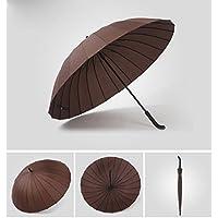 ssby da uomo Business ombrello in similpelle, 24Straight ombrello esterno doppio manico in osso, Storm Large ombrelli, marrone