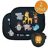 Premium Sonnenschutz von myMonkey - Universal Auto Sonnenschutz für Kinder - Autofenster Sonnenblende mit Tiermotiven für Babys - [2 Stück] Selbsthaftender Autosonnenschutz inklusive Tasche