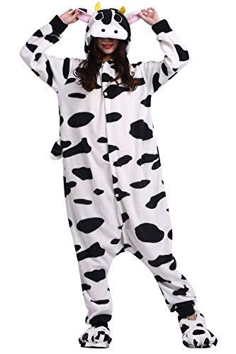 Pyjama Tier Cosplay Kuh Cartoonstil Animal Kigurumi Plüsch für Erwachsene Unisex