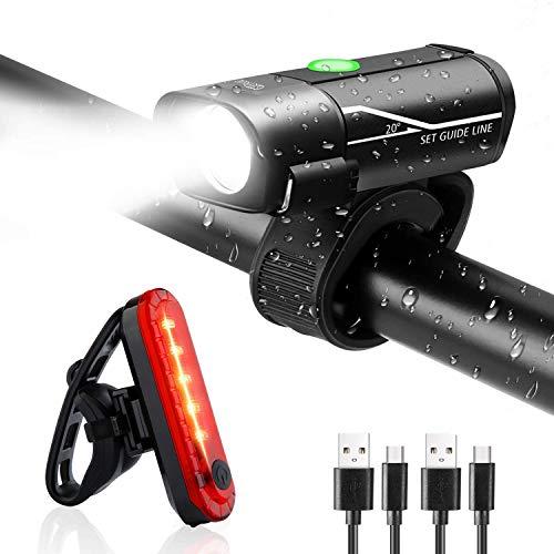 Gretrue Fahrradlicht LED Set, USB Wiederaufladbare Fahrrad Licht Set, IP65 wasserdichte Fahrradlampe Set, Fahrradlicht Set Superhelle, Fahrradbeleuchtung für Nachtfahrer,Radfahren und Camping