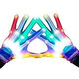 Dreamingbox - Guanti LED Lampeggianti per Bambini, Ottima Idea Regalo, Bambino, Arcobaleno (Taglia M per 8-12 Anni)