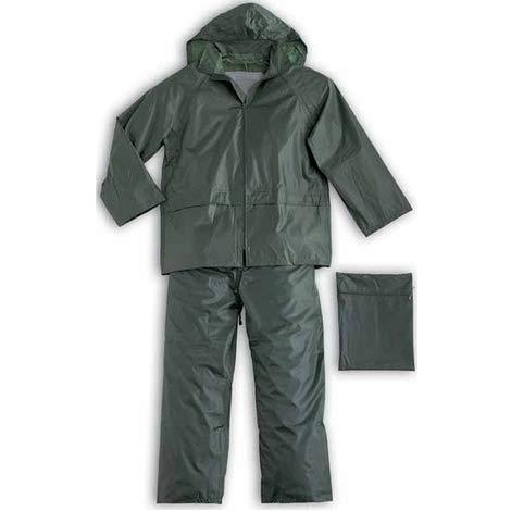 acquaverde Tuta Antipioggia Completo Impermeabile Nylon PVC Uomo Donna Giacca Pantalone Cappuccio Verde XXXL Funghi Auto Moto Taglie Forti