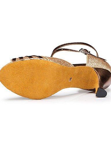 ShangYi Chaussures de danse ( Autre ) - Non Personnalisables - Talon Bobine - Satin / Paillette - Latine Blue