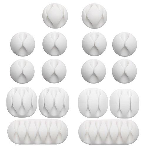 Gydandir 16-Pack-Mehrzweck-Kabel-Clips-Halter Selbstklebende Kabelhalter Schreibtisch-Kabel-Management-Clips Draht-Halter für die Organisation von Kabeln, Kabeln und Leitungen Home und Office (White)