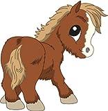 Bambinella® Bügelbild Aufbügler - gedruckte Velour/Flock Applikation zum selbst Aufbügeln - Motiv: Pony Pferd - Hergestellt in Deutschland