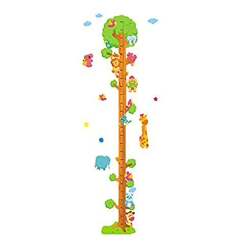 Winhappyhome Animals Pattern Tree Children's Height Measurement Chart Art Muraux Stickers pour Kids Room Living Room Garderie Décalcomanies Décor Amovibles