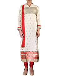 Kalki Fashion Beige Straight Fit Suit Adorn In Zari Embroidery. Only On Kalki