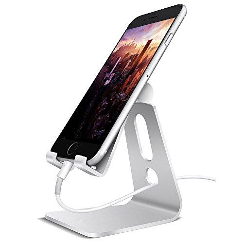 GBATERI Aktualisierte Version Handy Stand Halter Tablettenständer Tischplattenhalter Winkel verstellbar für Iphone Samsung Handy und Tablet - Silber (3,5 Unzen Tablette)