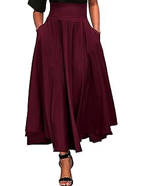 Faldas Vintage De Plisada Mujer LHWY, Una LíNea Falda Largos Color SóLido Verano Faldas De Alta Cintura Fiesta