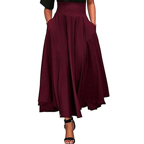 Röcke Damen, ZIYOU Casual Strand Röcke / Mädchen Basic Einfarbig Lange Rock Herbst Sommer (Rot, S)