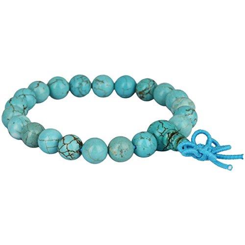 mookaitedecor 8mm Mala Gebetskette Stein Armbänder für Damen Herren, 21 Tibetisches Buddha Wickelarmband