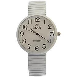 Unisex White Coloured Expandable MAB Designer Fashion Metal Watch Round Expander Bracelet Extra Battery