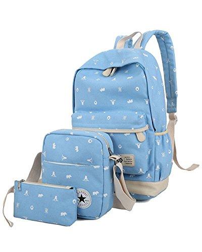 YiLianDa Bambini Borsa Tela Zaino Casual Scuola Zaini Donna Ragazza Canvas Backpack Zainetto 3 in 1 Chiaro Blu