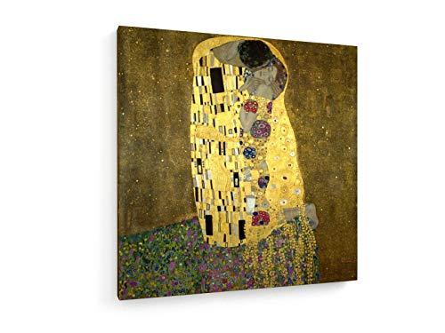 Gustav Klimt - Der Kuss - 1908-50x50 cm - Textil-Leinwandbild auf Keilrahmen - Wand-Bild - Kunst, Gemälde, Foto, Bild auf Leinwand - Alte Meister/Museum