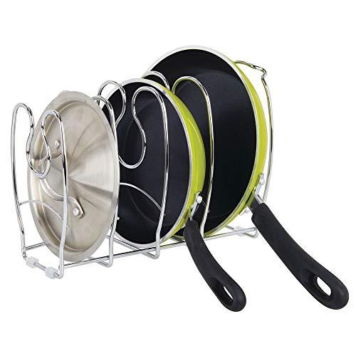 MetroDecor mDesign Pfannenhalter – stilvolle Küchenaufbewahrung für Pfannen – auch zur Aufbewahrung von Tellern oder Büchern geeignet – silberfarben