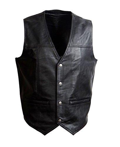Trachten Country Lederweste Lammnappa Leder weich leicht schwarz (XL) Größe 52