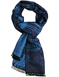 Landisun Men's Winter Warm Long Soft Elegant Classical Tassels Scarf Shawl Graffiti (Blue)
