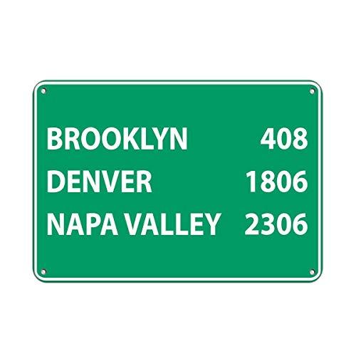 Tin Sign Great Brooklyn 408 Denver 1806 Napa Valley 2306 Traffic Sign Wall Decor Retro Metal Sign Aluminum 8x12 INCH