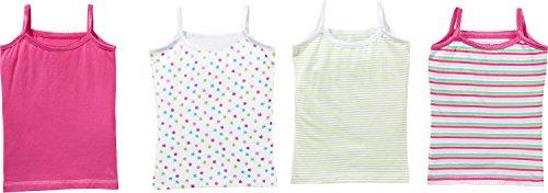 Kinderbutt Unterhemd 4er-Pack mit Druckmotiv Sterne Single-Jersey pink-mint-bunt Größe 98 / 104