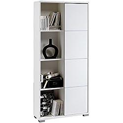 Estanteria o librería de pie en color blanco brillo con puerta corredera, varios estantes en su interior, para comedor, salon, oficina o dormitorio 180x80x32