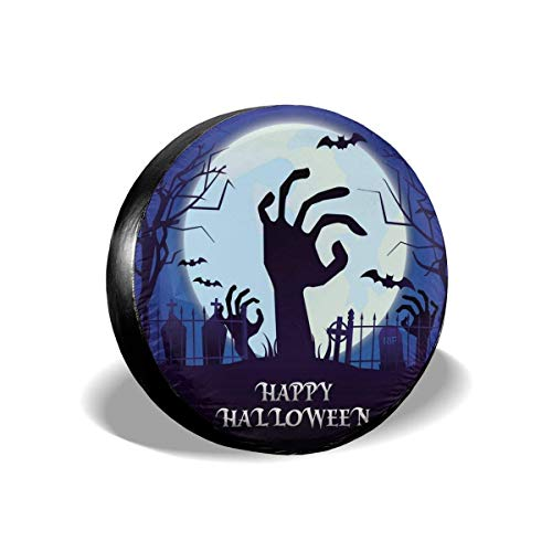 WBinHua Ersatzradabdeckungen, Happy Halloween Horror Night Bat Zombie Hand Moon Spare Tire Cover Waterproof Dust-Proof Universal Spare Wheel Tire Cover Fit for Many Vehicle 14 15 16 17 Inch