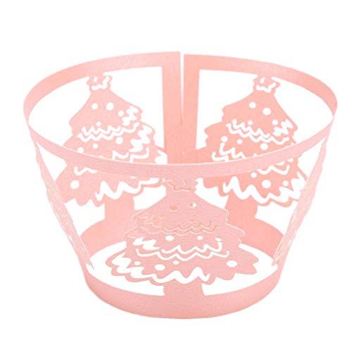 HEALIFTY Geburtstag Cake Topper Dekoration 50 stücke Kuchen Weihnachtsbaum Wickel Kreative Exquisite Aushöhlen Pappbecher für Zuhause Shop Hochzeit