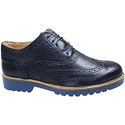 Scarpe uomo francesine blu scuro vera pelle artigianali casual eleganti (43)