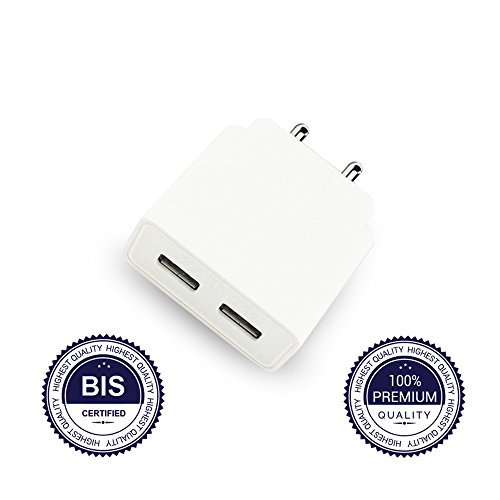 IndeBlue Premium High Speed Two Port USB Wall Charger 2.0A - BIS Certified - Light Weight - Fast Charging - Compatible With Home Plug Power Adaptor For iPhone 10,8,8+,7,7+, 6,6s,6S+,5,5S, Samsung Galaxy S7,S6, HTC, LG, Tablet, iPad, kindle, Fire, Motorola And More - Dual USB Ports Quickly Chargers Multiple Mobile, Smart Phone and Tablets Simultaneously (One Charger)  available at amazon for Rs.150