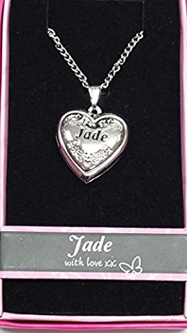 JADE Named Personalised Love Lockets/ Pendants With Picture Holder Presented Beautifully By Sterling Effectz