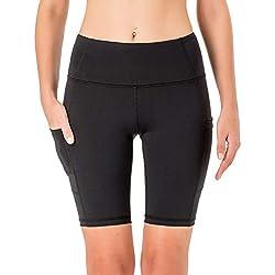 "NAVISKIN Pantalones Cortos 8"" Deportivos para Mujeres Bolsillos Elástico Transpirable Ligero Training Running Fitness Yoga Pilates Negro M"