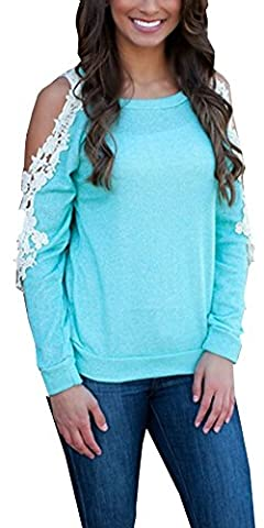 KaKing Womens Sexy Lace Crochet Long Sleeve Off Shoulder Tops Blouse Blue Small