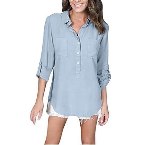 Femmes Chemisiers, IMJONO Femmes Blouson à manches longues Chemise décontractée T-shirt coupe d'été (S,