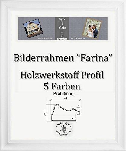 Farina Barock Bilderrahmen 39 x 48 cm Farbe und Verglasung wählbar 48 x 39 cm Hier: Weiss gemasert mit Acrylglas Antireflex 1 mm (Verglasung Bilderrahmen)