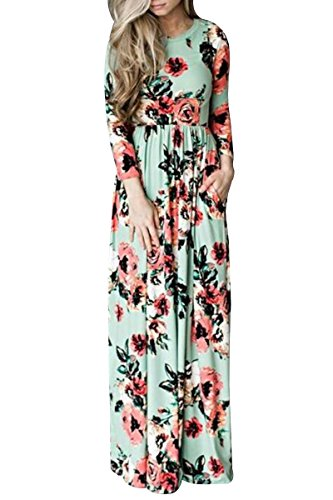 YMING Damen Elegant Blumenkleid Langarm Sommerkleid Boho Strandkleid Hohe Taillen Casual Maxikleid,Grün,XL / DE (Kleid Disco Size Plus)