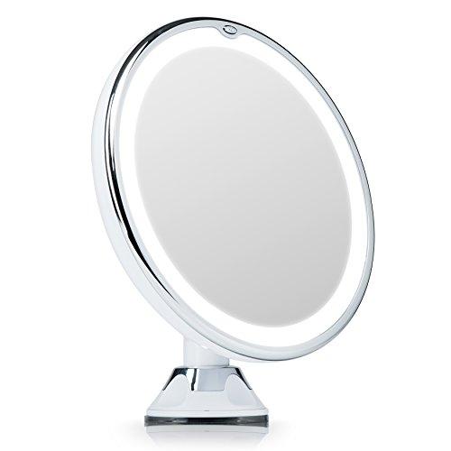 Fancii Espejo de Maquillaje con Luz LED Naturales y Aumento de 7x, Espejo Ventosa con 360 Rotación...