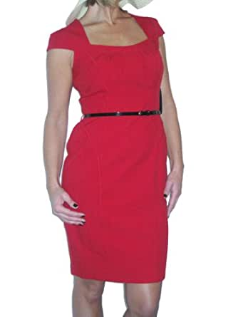 ICE (3947) elegant Chelsea style washable dress + belt evening red 10-20 (14)