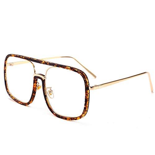 Yangjing-hl Quartett große Brille Brille Modetrend Bunte Brille Kunststoffrahmen Sonnenbrille Leopard Rahmen weiß flach