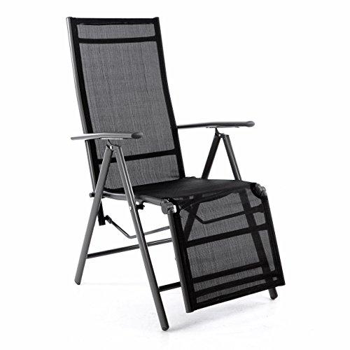 Nexos Alu Liegestuhl Sonnenliege Relaxstuhl mit Fußstütze Hochlehner Textilene schwarz Gestell anthrazit für Camping Garten Terrasse Balkon Klappstuhl faltbar pflegeleicht witterungsbeständig