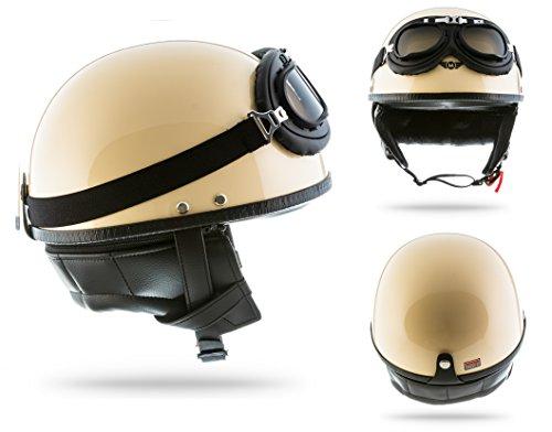 MOTO HELMETS D22 SET - BRAINCAP Halbschalen-Helm Motorrad-Helm Vespa-Helm Roller-Helm Jet-Helm Bobber...