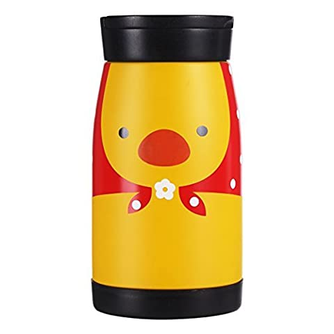 UPSTYLE Portable Thermos Travel Mug Cute Cartoon Design Vacuum Insulated Stainless Steel Thermos Water Bottle Coffee Thermos Vacuum Flask Vacuum Cup for Children Size 260ml,
