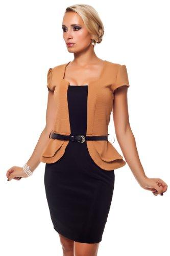 Moda Italy Business Kleid Minikleid Elegant Kurzarm Etuikleid Schößchen Gürtel Terracotta
