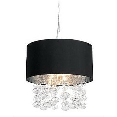 ZSQ 420W de luz colgantes moderno con 7 luces y sombras del tambor de tela negra (E14/E12) , Base de 220-240 V