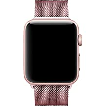 Apple Watch Bracelet 38mm Milanais, avec le Fermoir Magnétique Unique, VIKATech 38mm Strap Acier Inoxydable Band pour Apple Watch Series 3 / 2 / 1 , Sport , Nike+, Edition - Or Rose