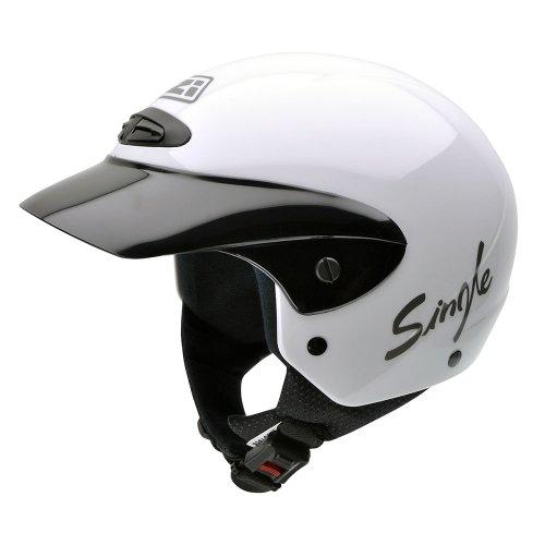 NZI 050139G001 Single II Jr White Motorcycle Helmet, White, Size 52-53 (L)