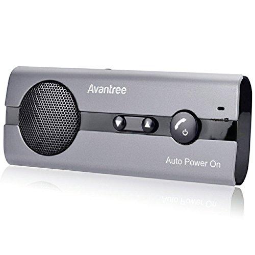 [2 Jahre Garantie] Avantree 10BS AUTO POWER ON Visier Bluetooth Freisprecheinrichtung mit eingebautem Bewegungssensor, Unterstützt GPS, Musik, Kabellose freihändige Freisprechfunktion für Handys