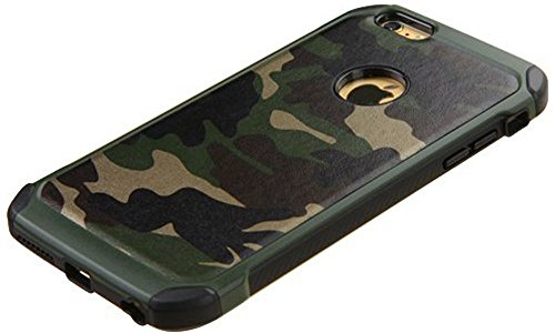 FDTCYDS iPhone 6 Hülle,iPhone 6s Camo Hülle Defender Shockproof Drop Proof High Impact Rüstung Plastic & Leder TPU Hybrid Rugged Camouflage Schutz Cover Hülle für Apple iPhone 6/6s (4.7inch) - Grün