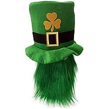 Cappello Tuba Trifoglio Irish Leprechaun St. Patrick con Barba per Adulti 13f1fe05e6a7
