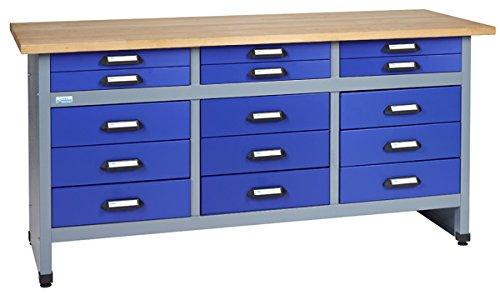 Küpper Werkbank Modell 12977, 170x84x60 cm, 15 Schubladen mit Rollenführungen Farbe ultramarinblau