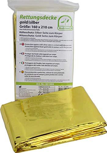 3 Stück Rettungsdecken Medi-Inn Rettungsfolie gold/silber 56 g schwer Größe: 160 cm x 210 cm